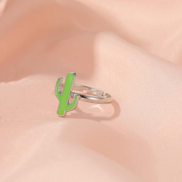 Girls Cactus Decor Ring, Silver