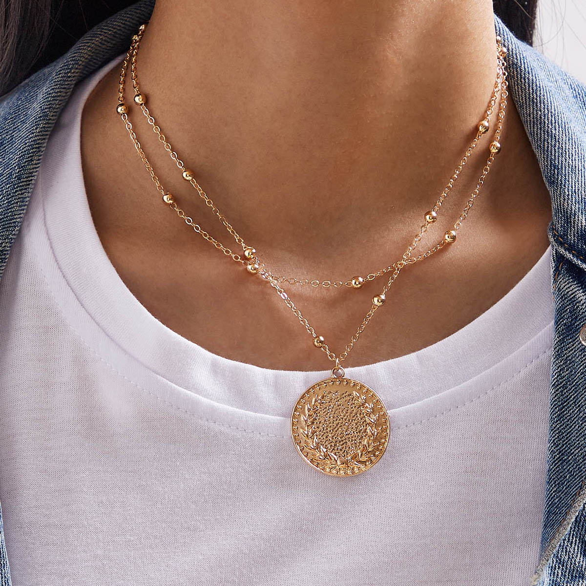 Textured Round Layered Pendant Necklace