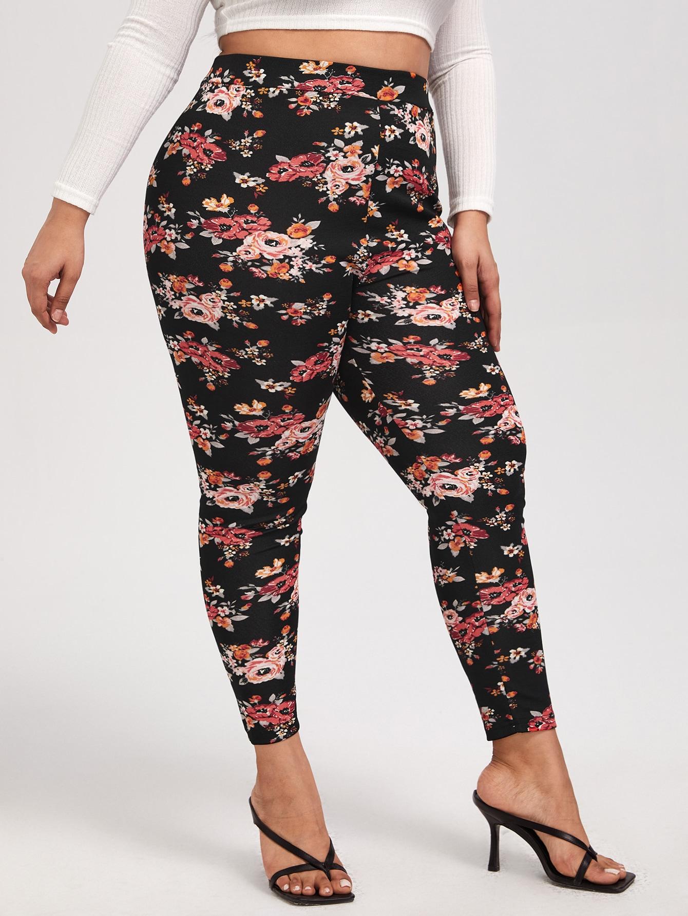 Plus Floral Print Pants