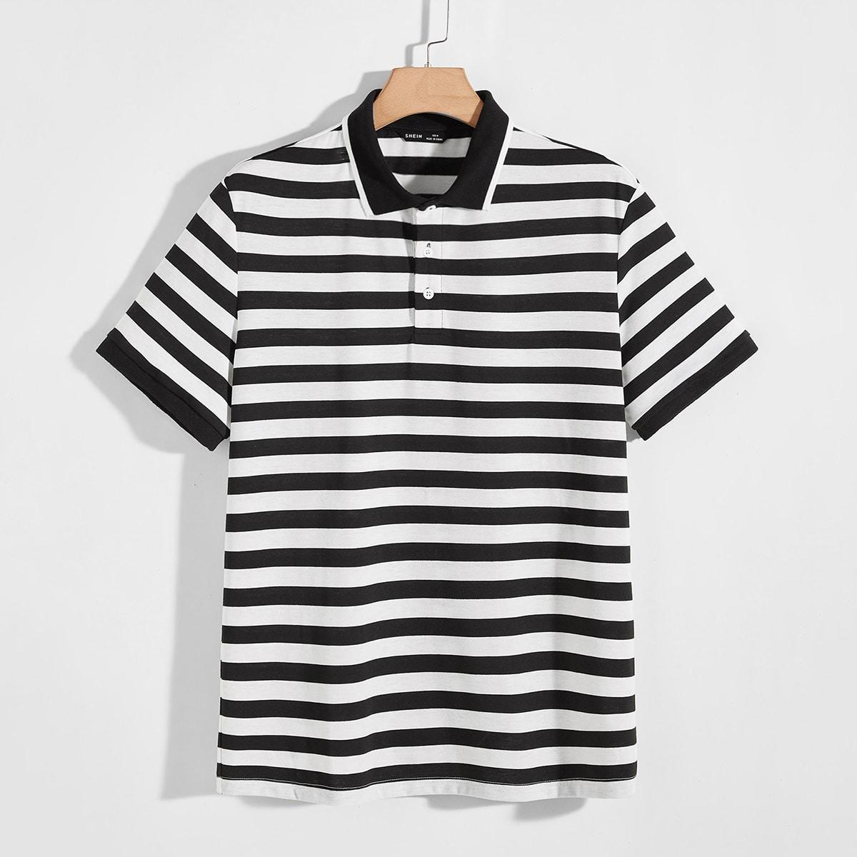 Мужская двухцветная рубашка-поло в полоску по цене 940