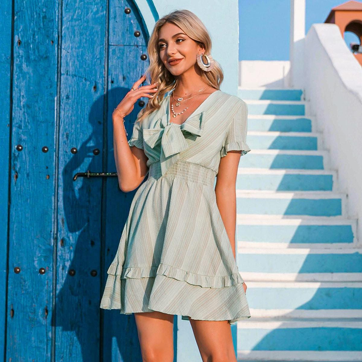 Tie Front Shirred Waist Striped Dress