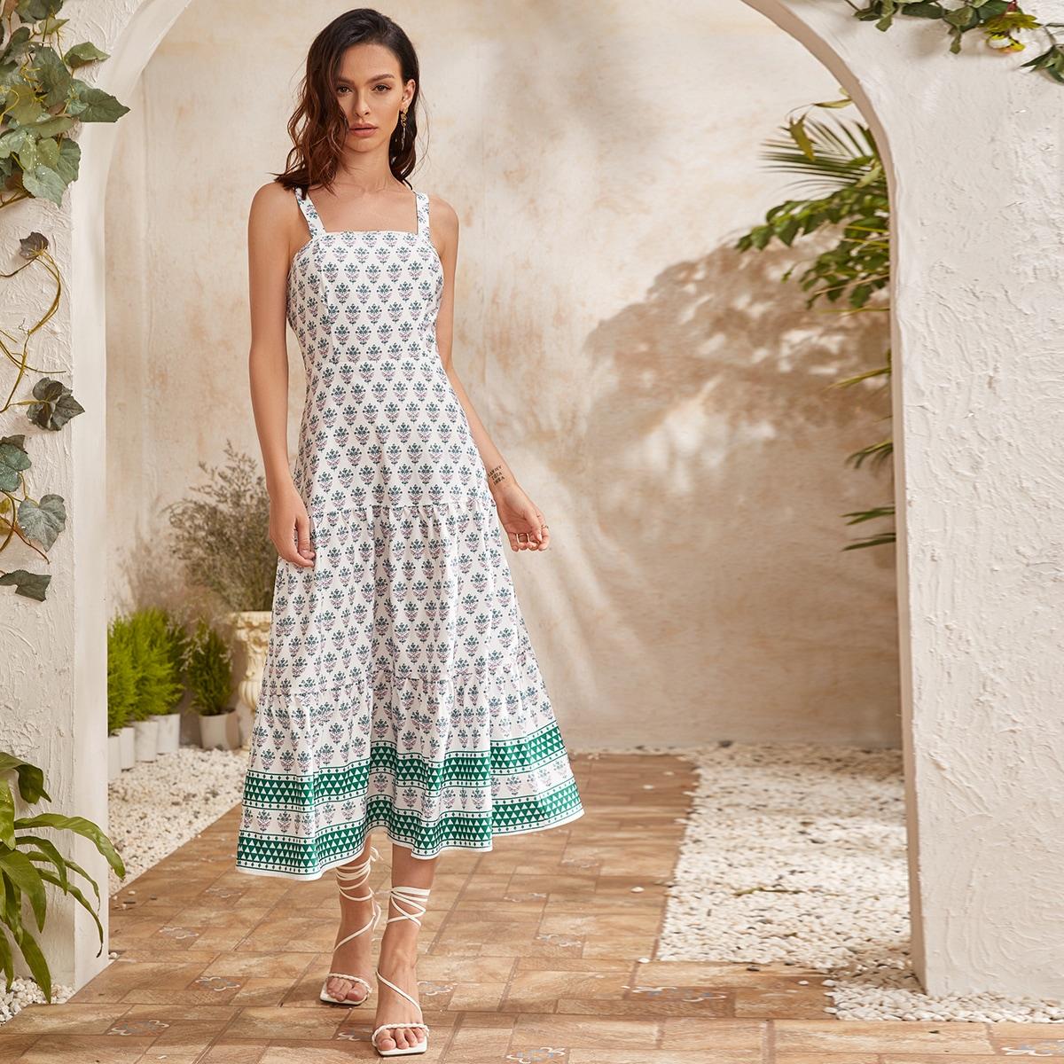 Ruffle Hem Floral & Geo Print Cami Dress