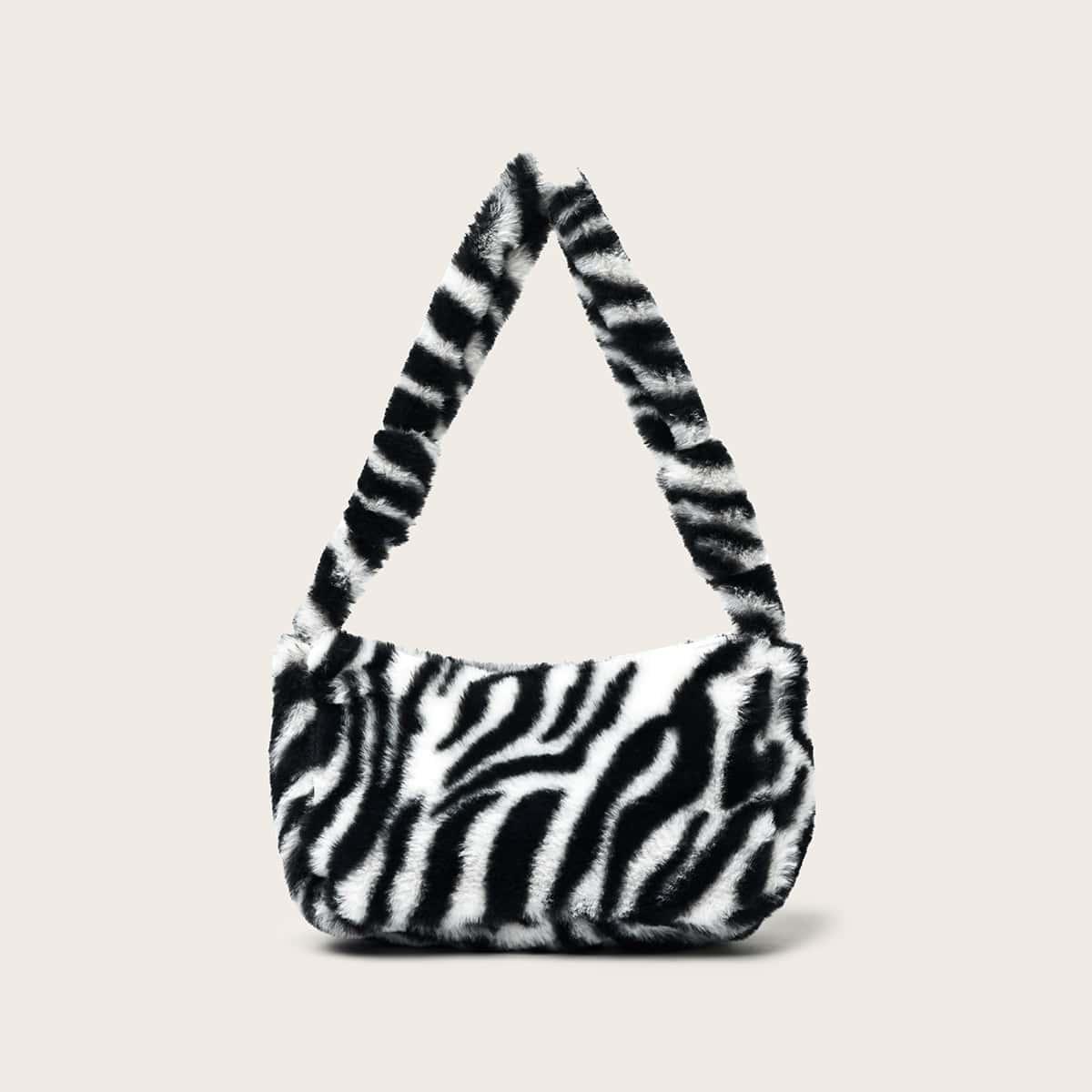 Flauschige Baguettetasche mit Zebra Muster