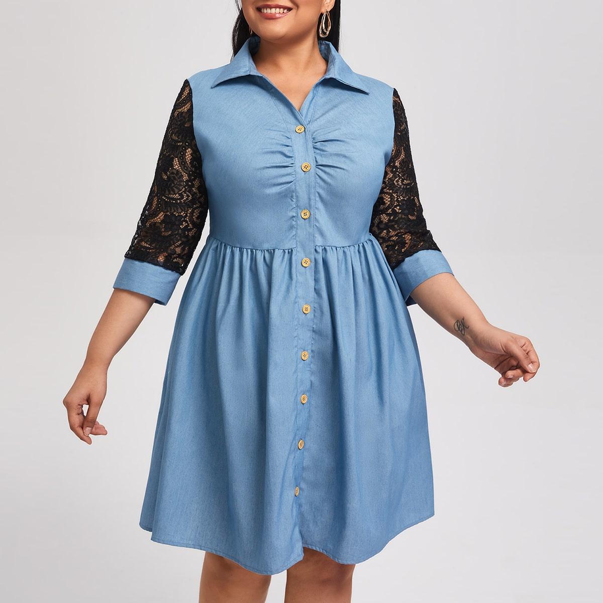 Контрастные кружева Контрастный цвет Элегантный Джинсовые платья размер плюс