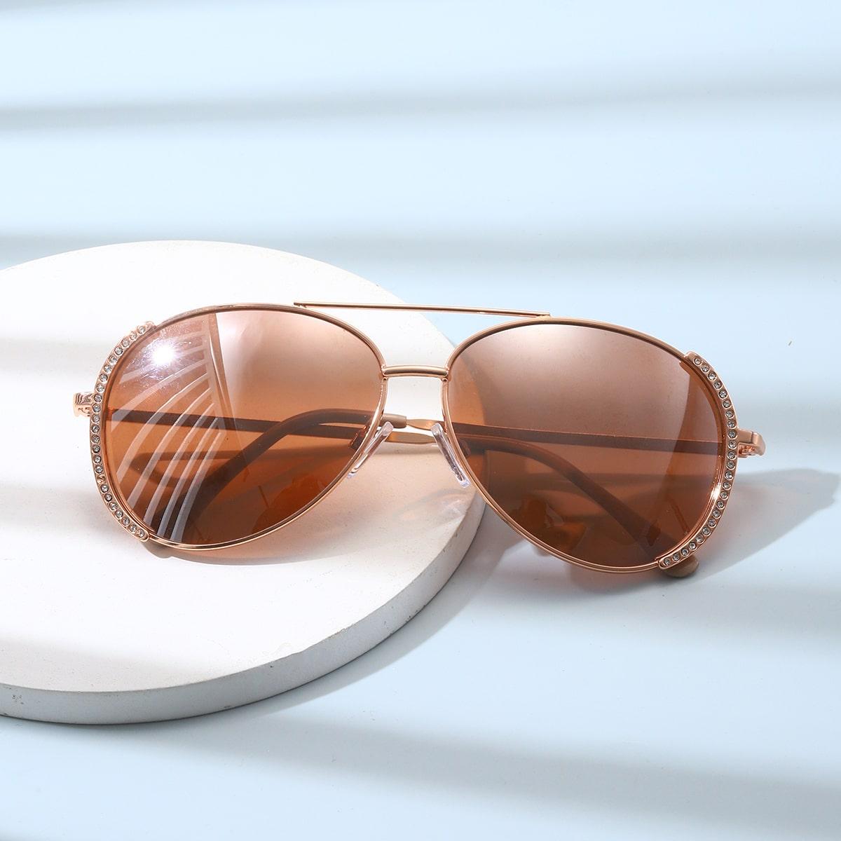 Солнцезащитные очки-авиаторы со стразами