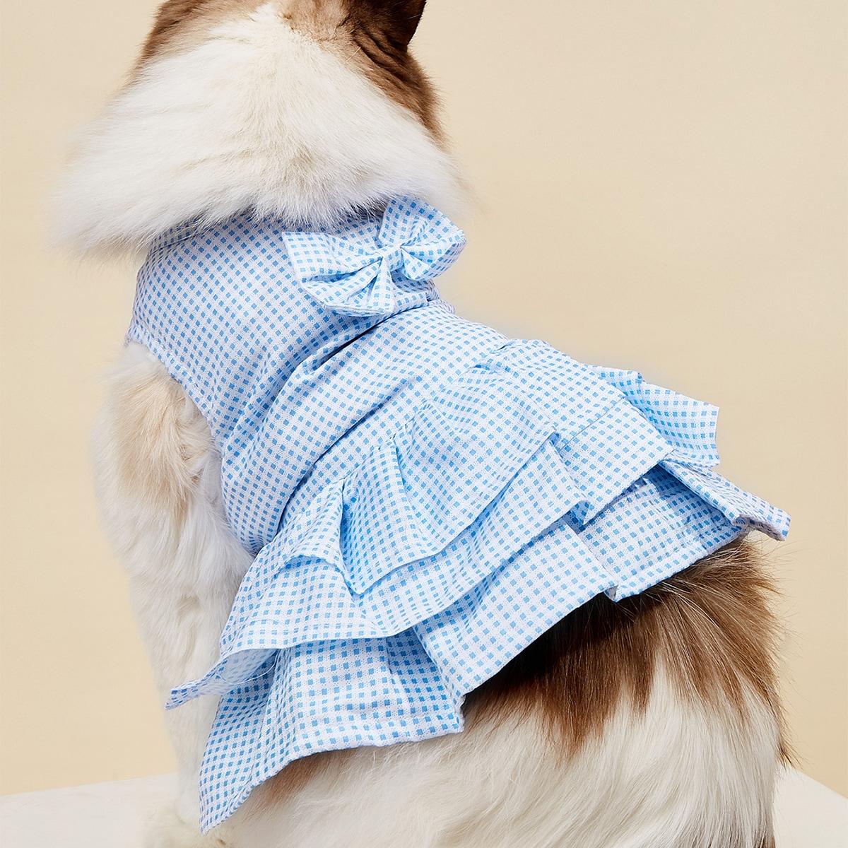 Bow Detail Plaid Ruffle Pet Dress