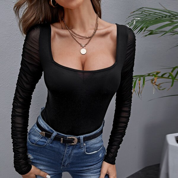Sheer Mesh Sleeve Slim Top, Black