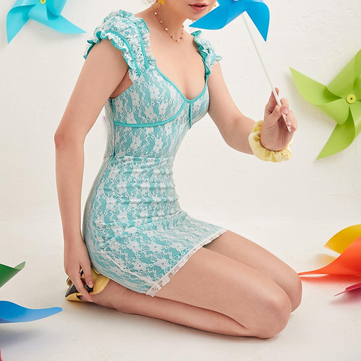 на молнии Контрастный цвет Бохо Платье по цене 721