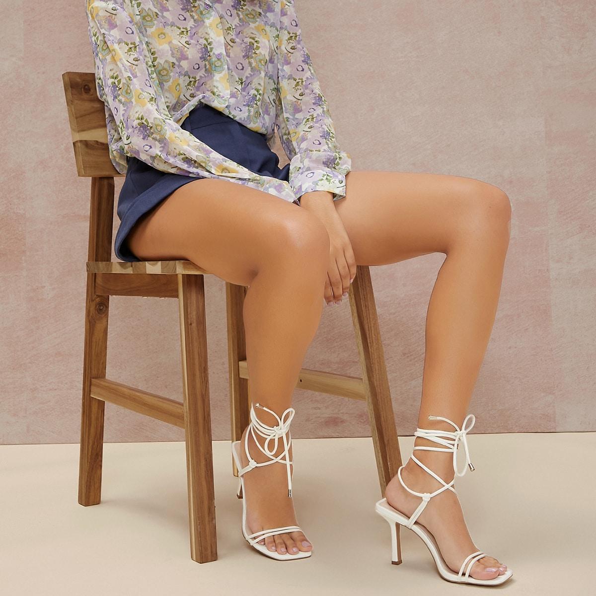 Кожаные туфли на высоком каблуке с квадратным носком