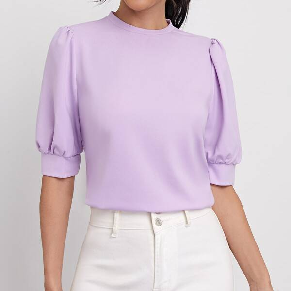 Puff Sleeve Keyhole Back Top, Lilac purple