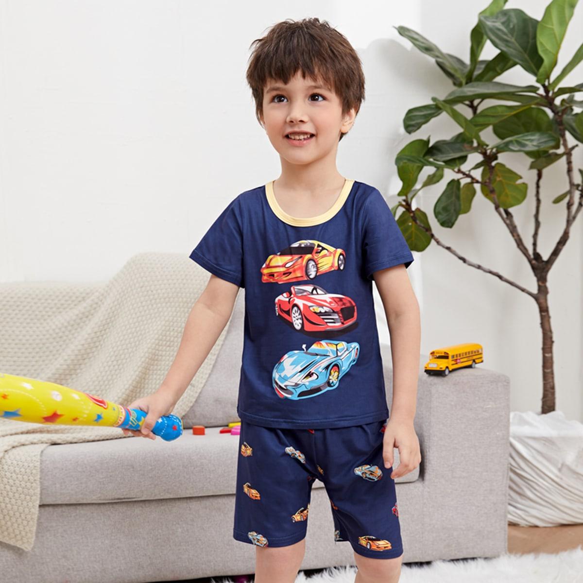 Контрастная отделка графический принт Повседневный Домашняя одежда для мальчиков