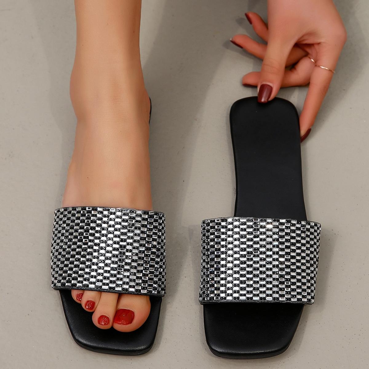 SHEIN Glijbaan sandalen met metallic strass decor
