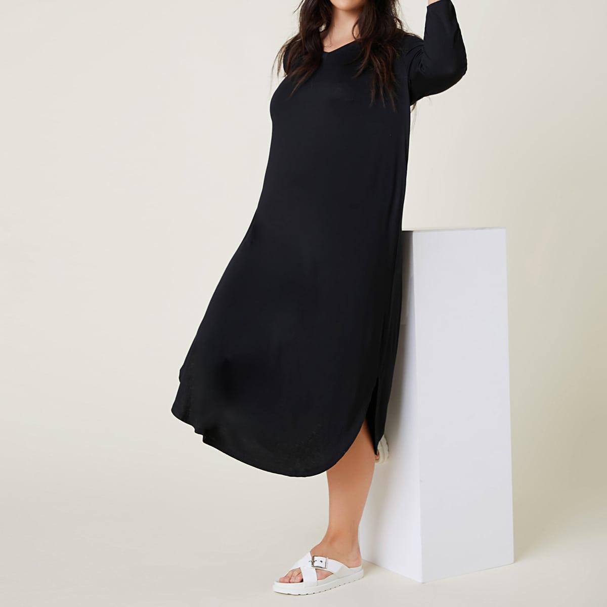 Plus V-Neck Solid Curved Hem Dress