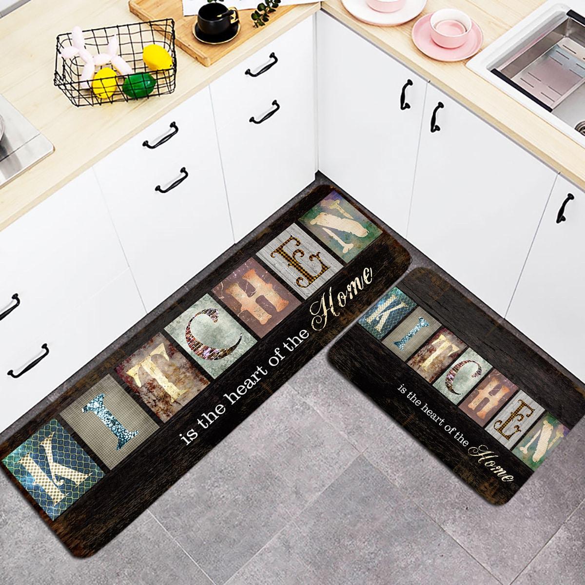 1Pc Slogan Graphic Kitchen Rug