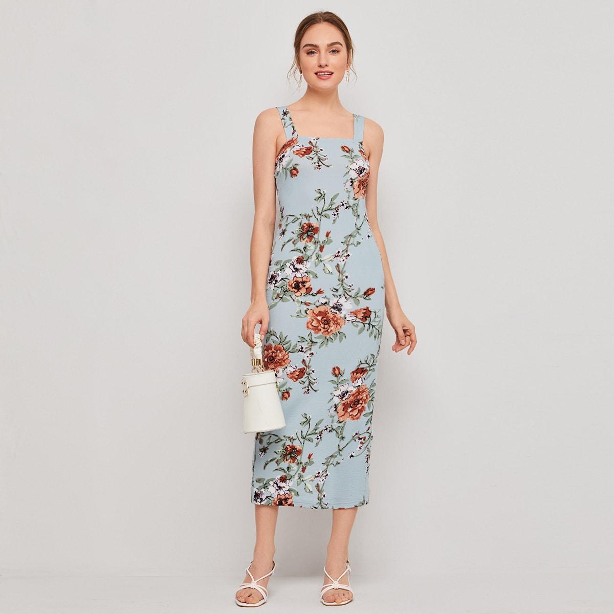 Разрез Цветочный принт Элегантный Платье по цене 560