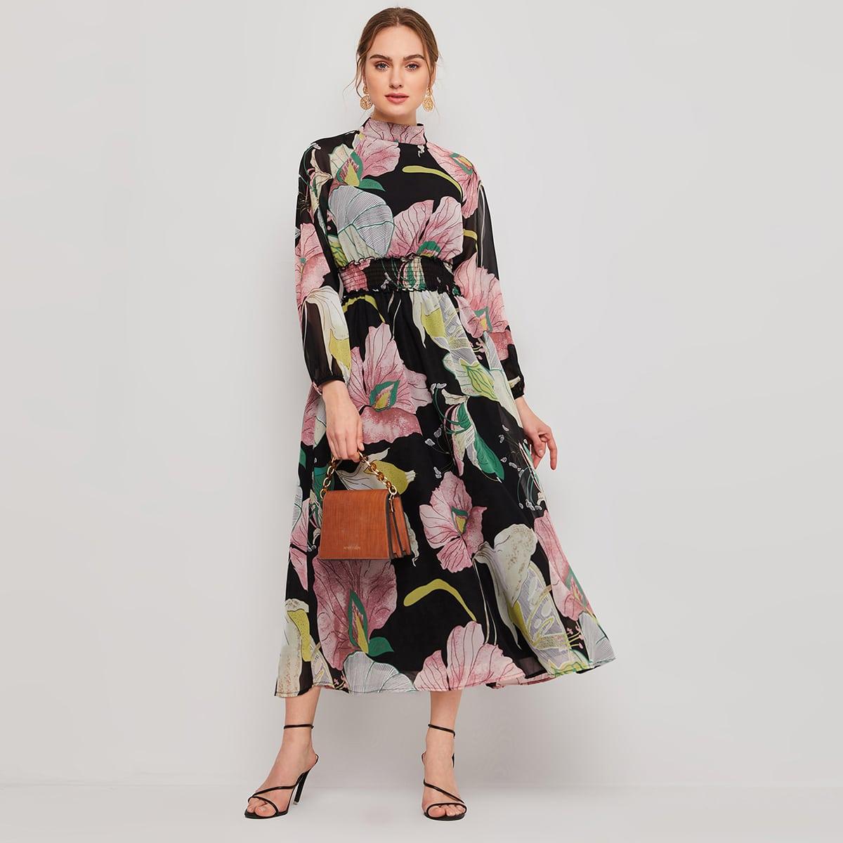 на пуговицах Цветочный принт Бохо Платье