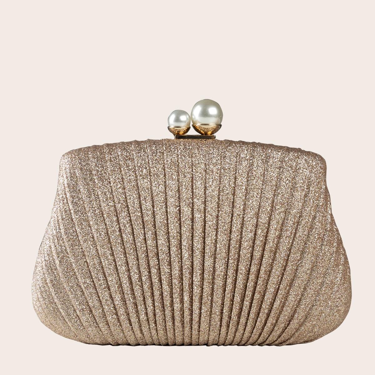Блестящая сумка-клатч с искусственными жемчугами