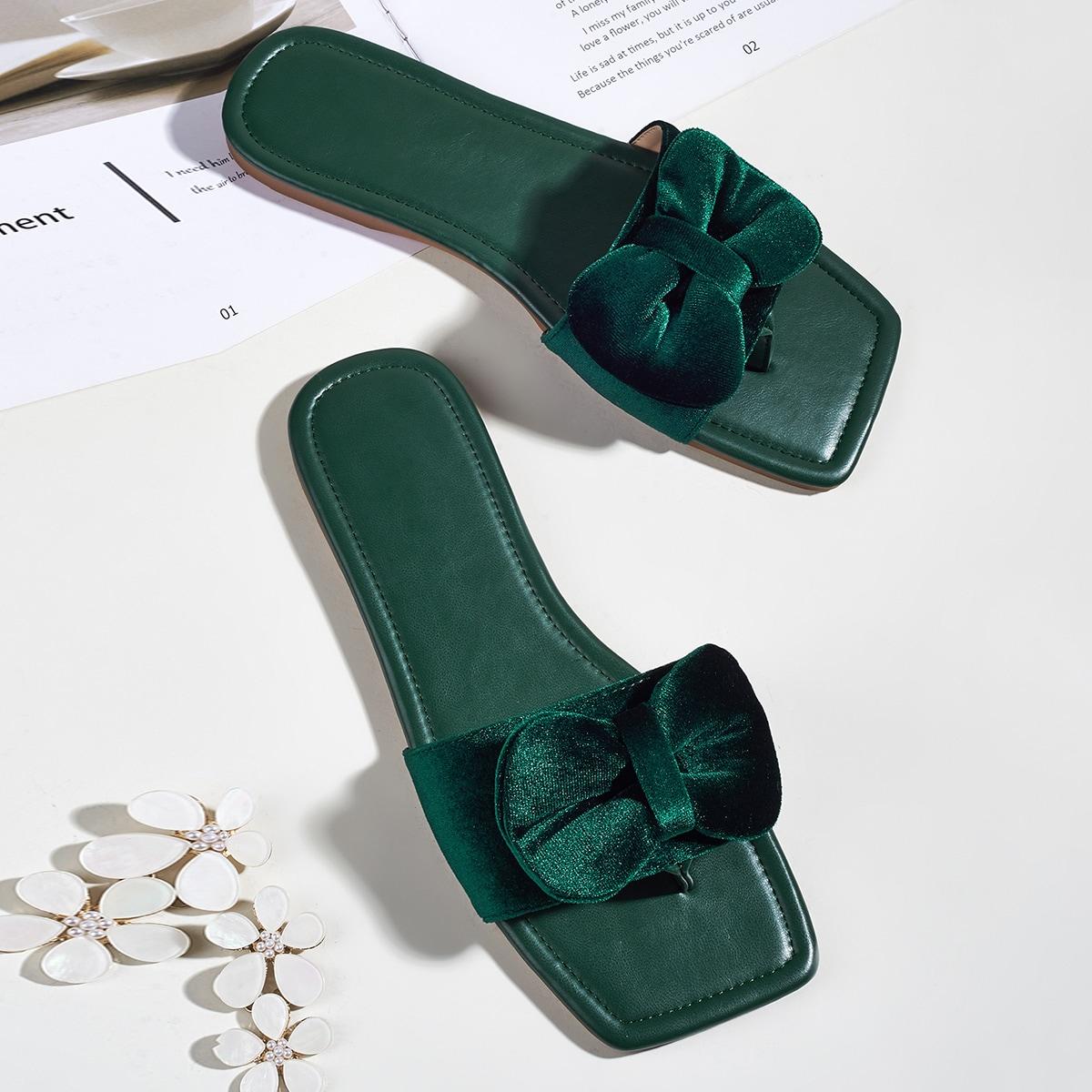 Бархатные сандалии с бантом
