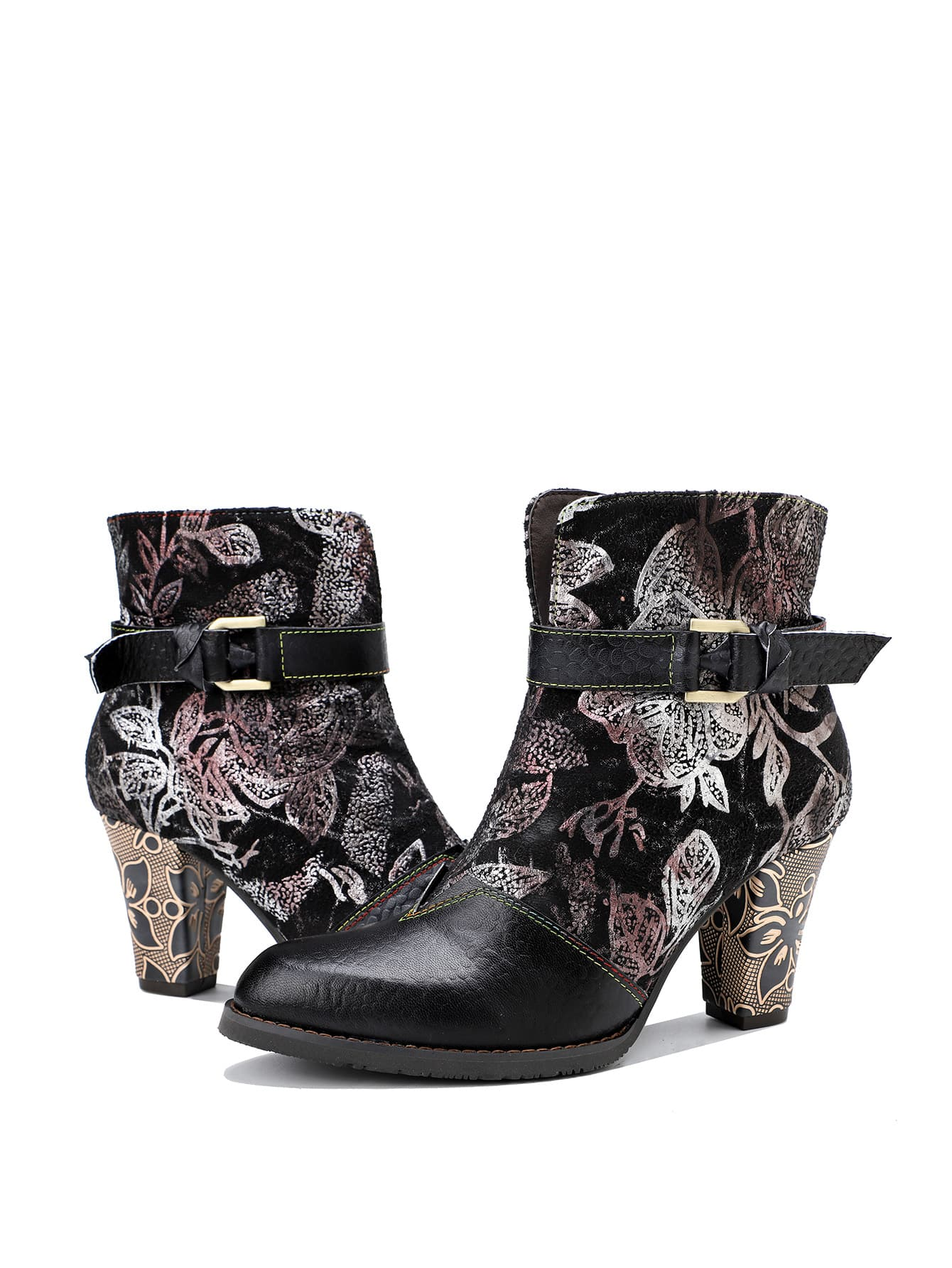 Flower Pattern Leather Western Boots