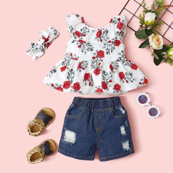 Baby Girl Floral Print Peplum Top & Denim Shorts & Headband, Multicolor