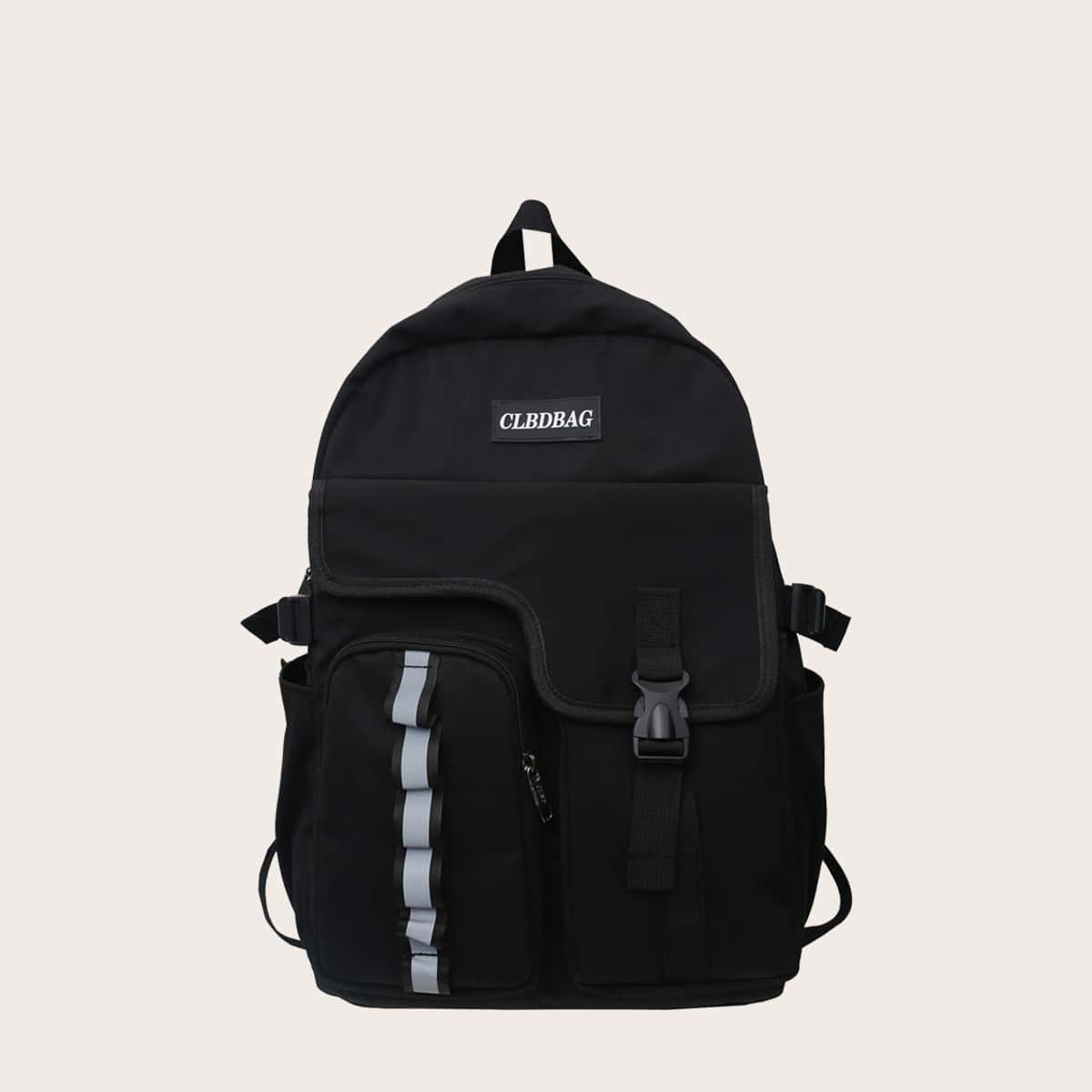 SHEIN / Men Release Buckle Front Reflective Backpack