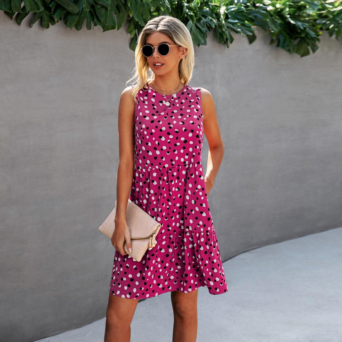 Платье с застежкой сзади и принтом