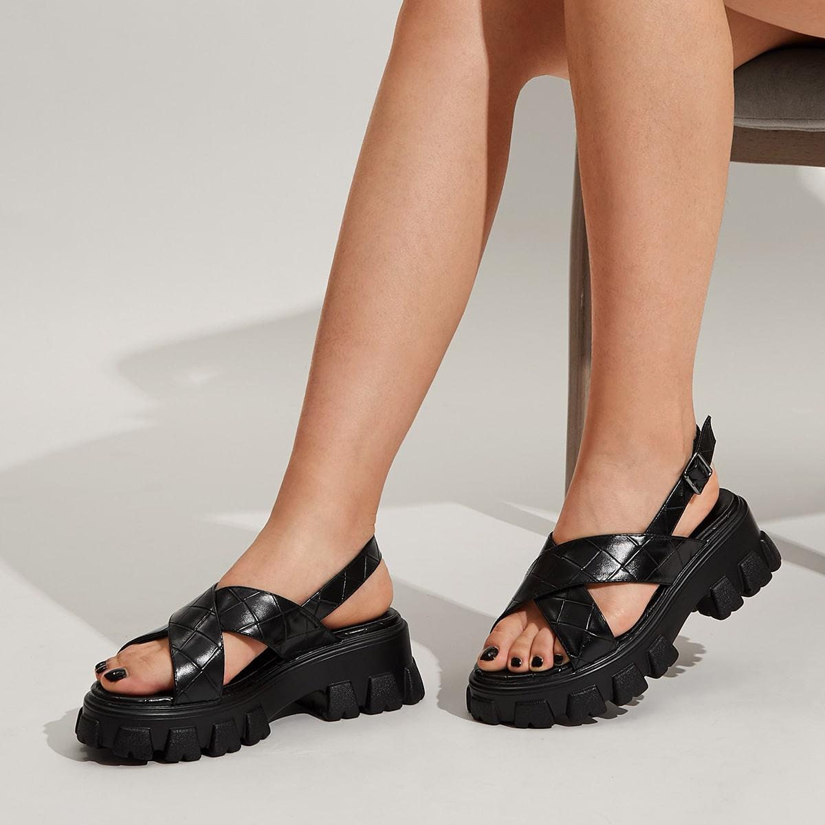 Плетеные спортивные сандалии с открытой пяткой