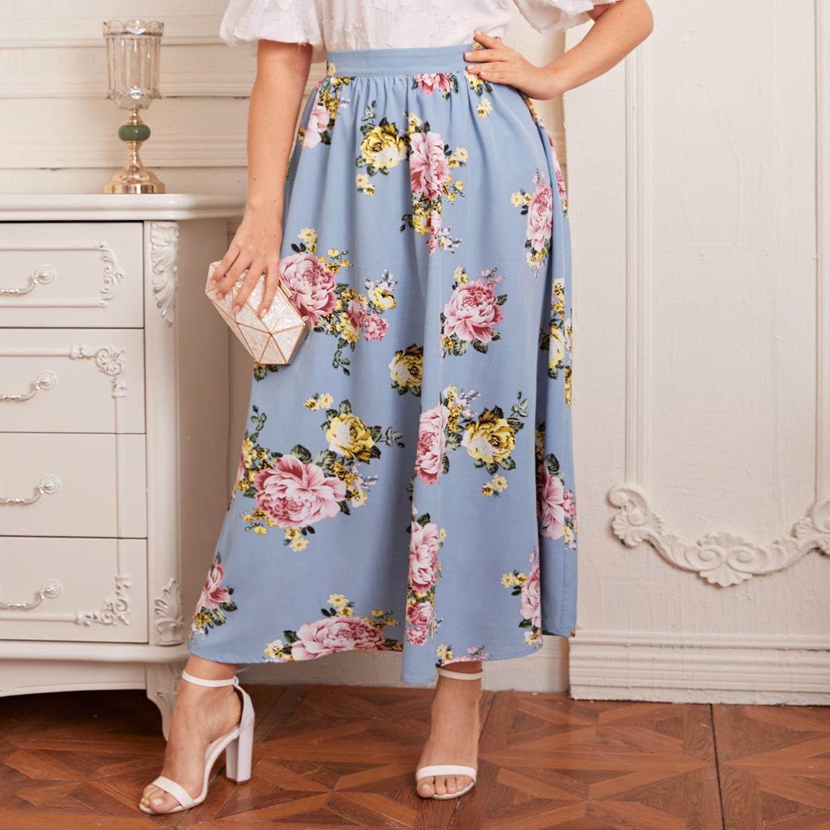 Plus Zipper Back Floral Print Skirt