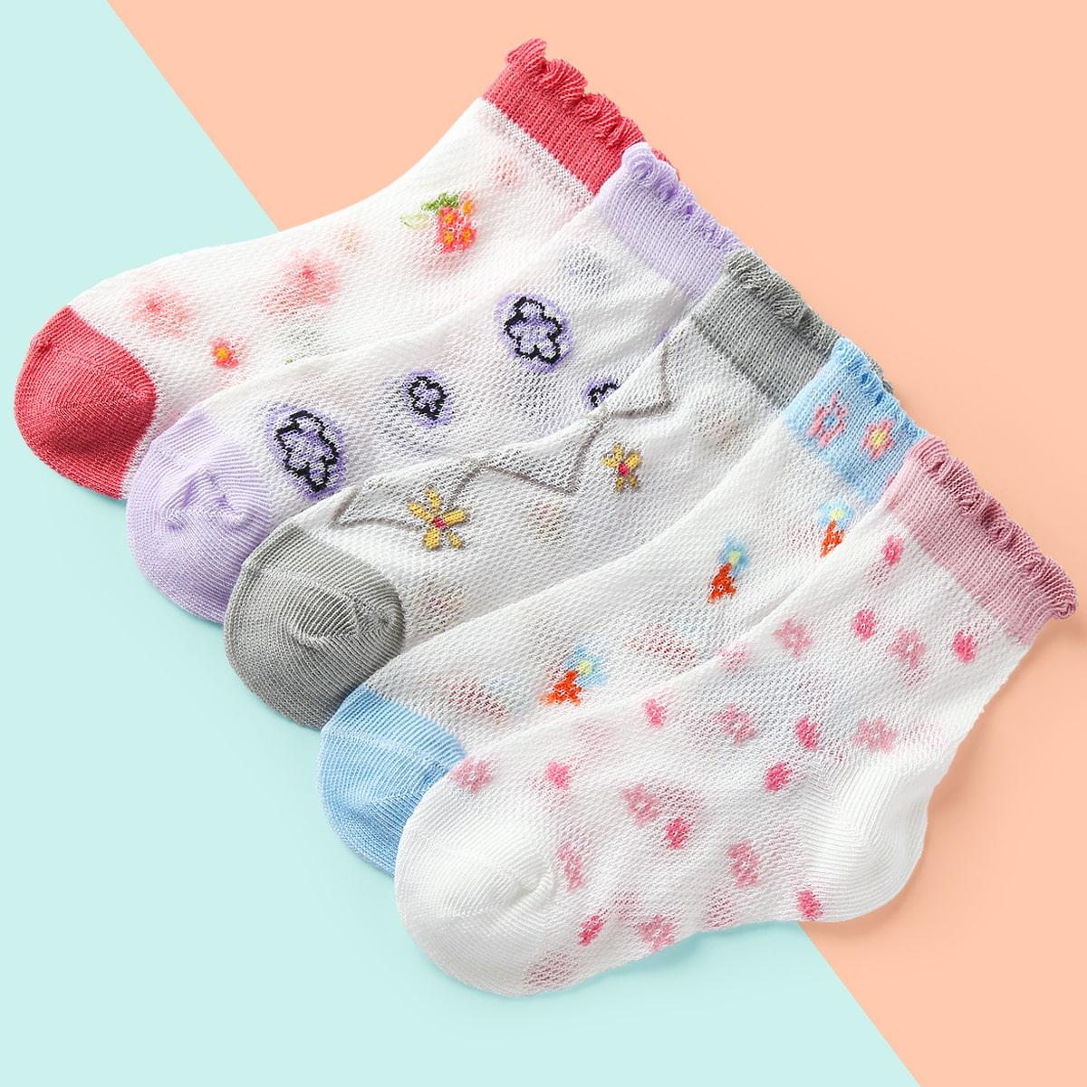 SHEIN / 5pairs Baby Flower Print Crew Socks