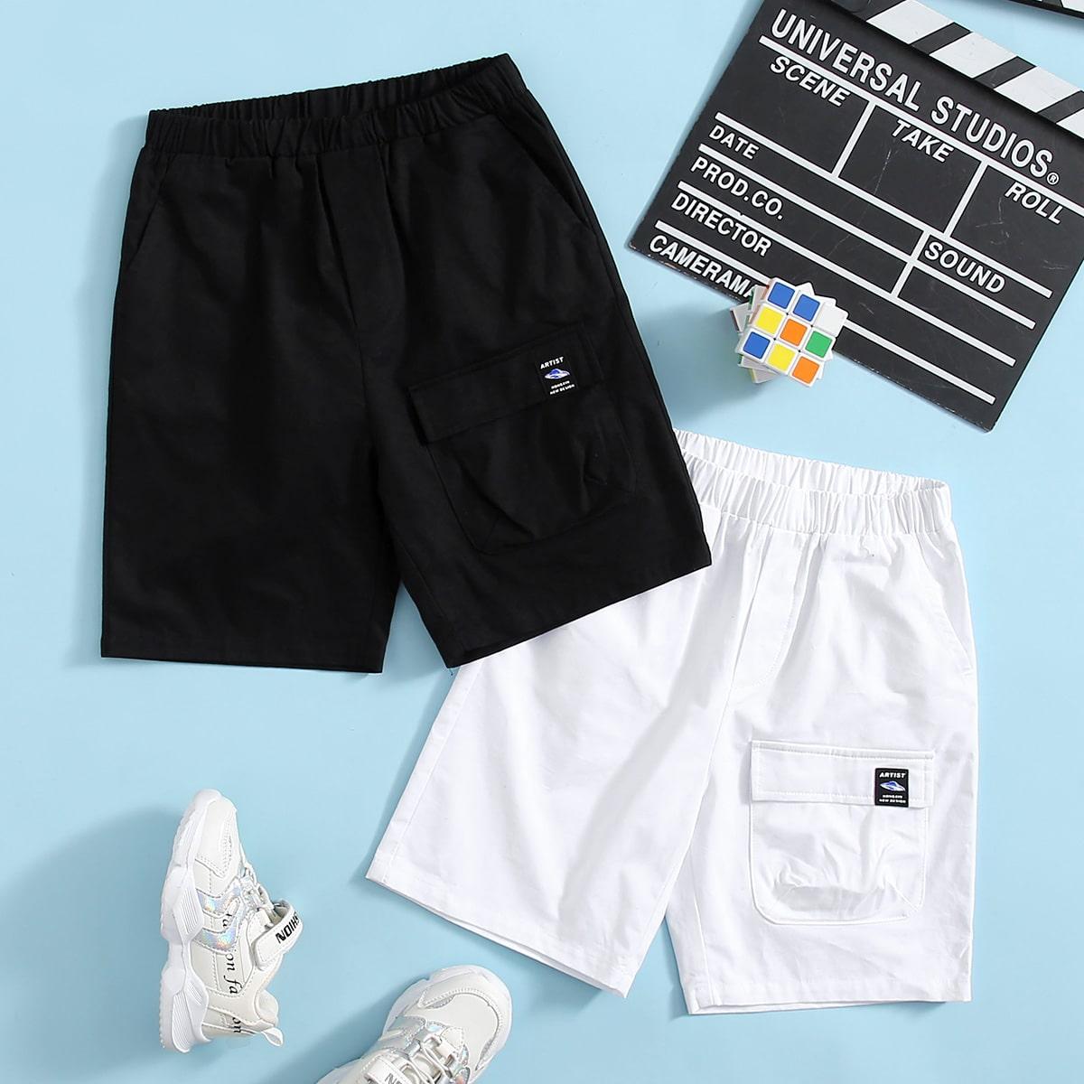 Jungen 2 Packe Shorts mit Buchstaben Flicken und Taschen Klappen