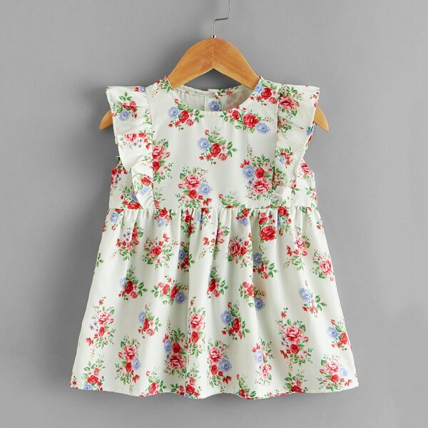 Baby Girl Allover Floral Smock Dress, Multicolor