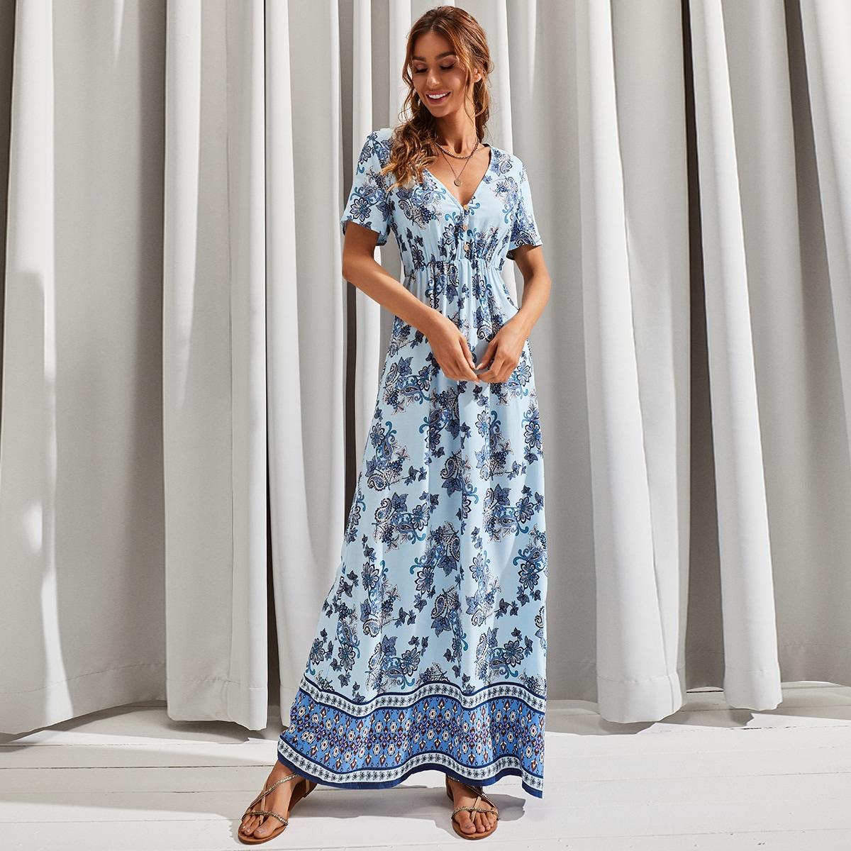 Платье с цветочным принтом и принтомпейсли