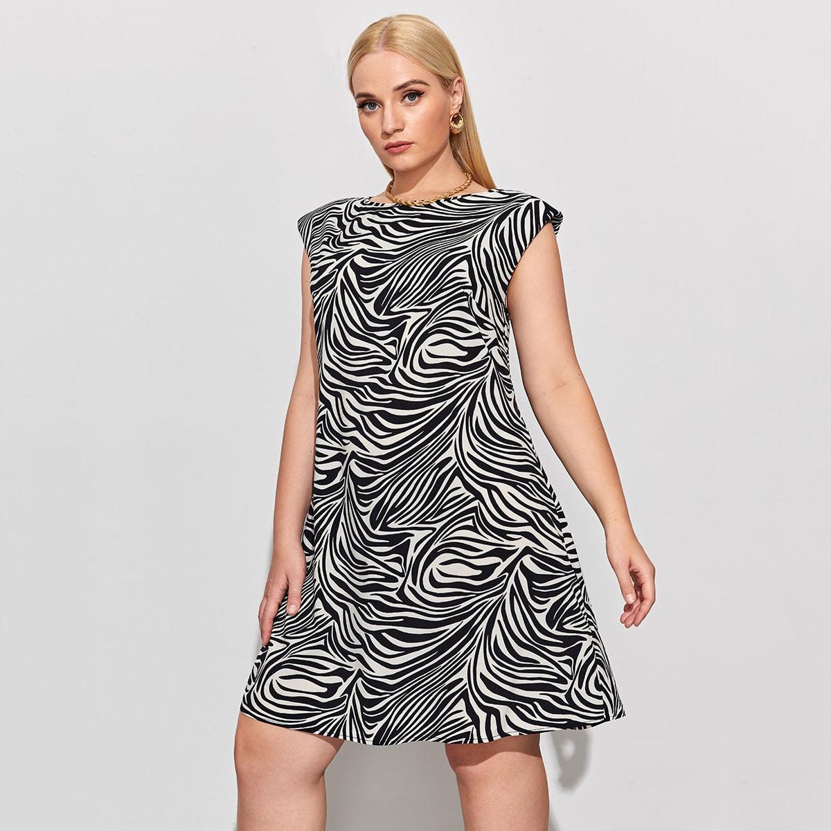 Платье размера плюс с принтом зебры