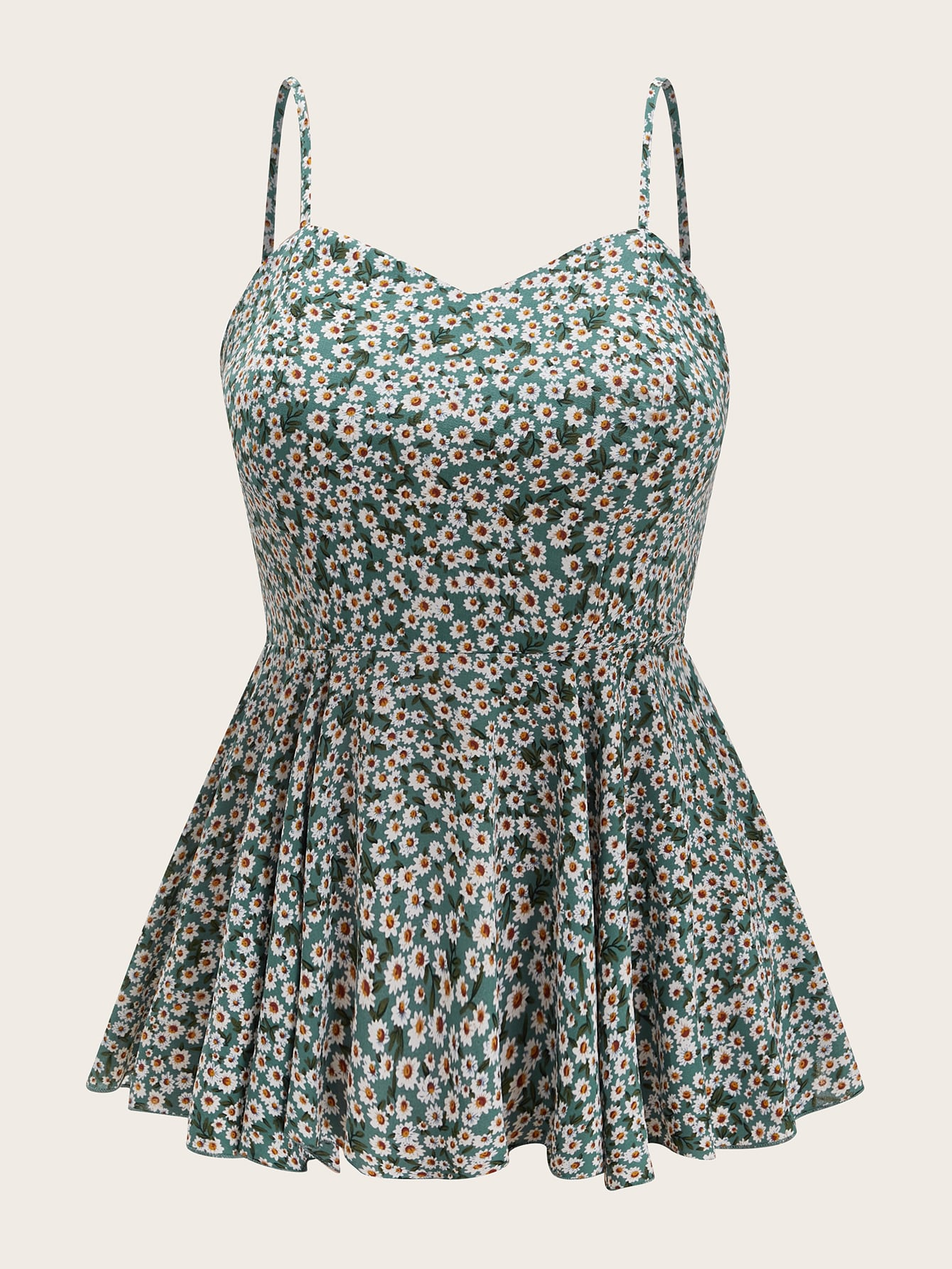 Plus Ditsy Floral Print Shirred Back Cami Top