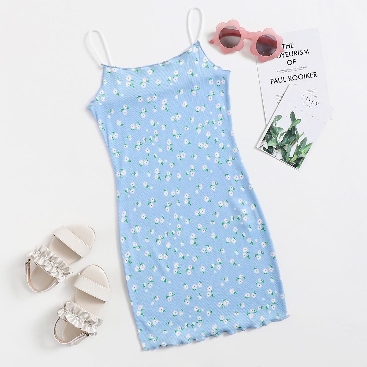 Kleid mit gekräuseltem Saum und Gänseblümchen Muster