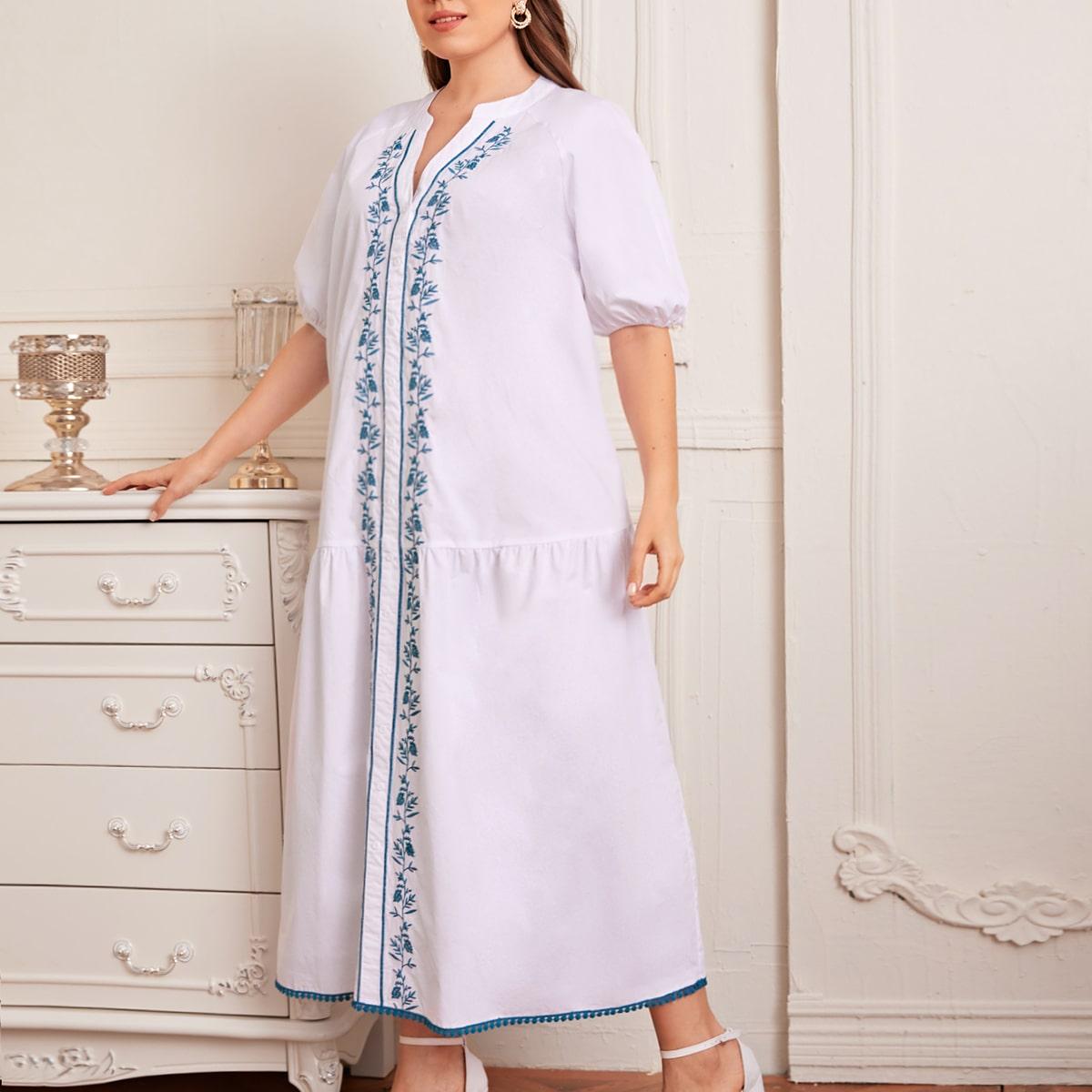 Платье размера плюс с цветочной вышивкой и кружевом