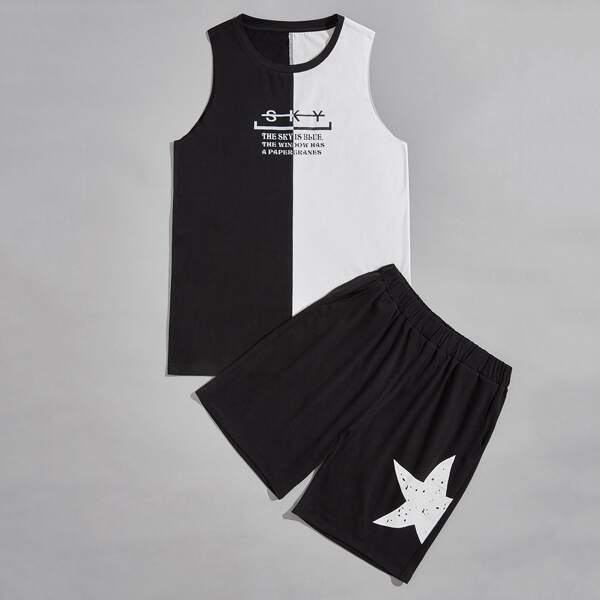 Men Two Tone Slogan Graphic Tank Top & Shorts, Black and white
