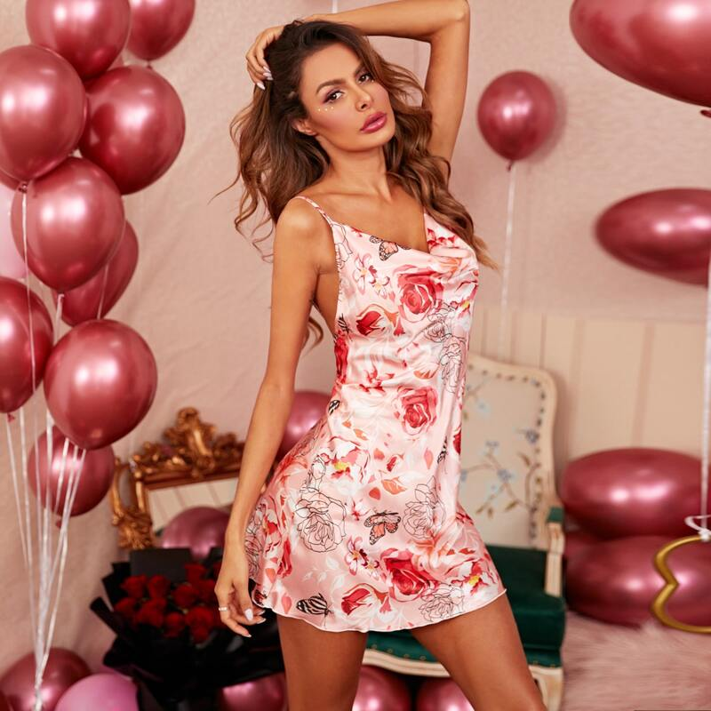 Butterfly And Floral Print Backless Cami Nightdress, Multicolor