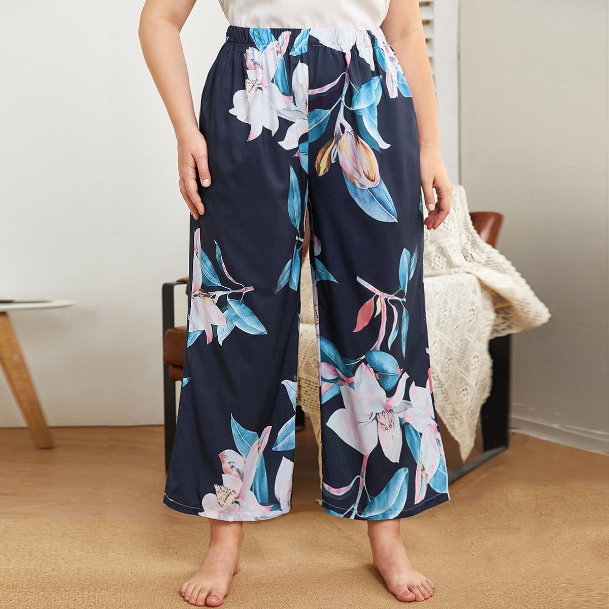 Pantaloni da pigiama floreale con vita elasticizzata