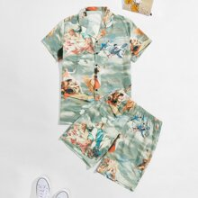 Guys Oil Painting Print Shirt With Shorts