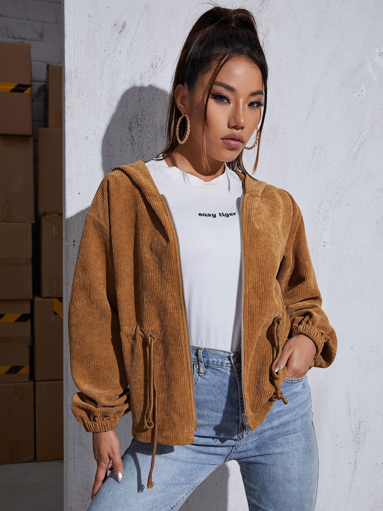 drop shoulder drawstring waist cord jacket