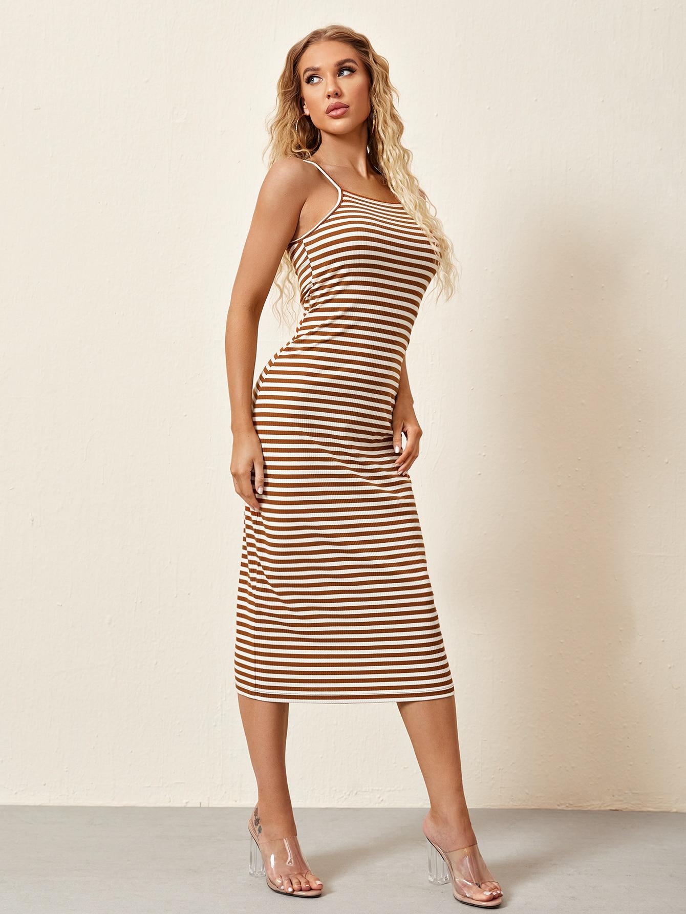 striped print bodycon dress