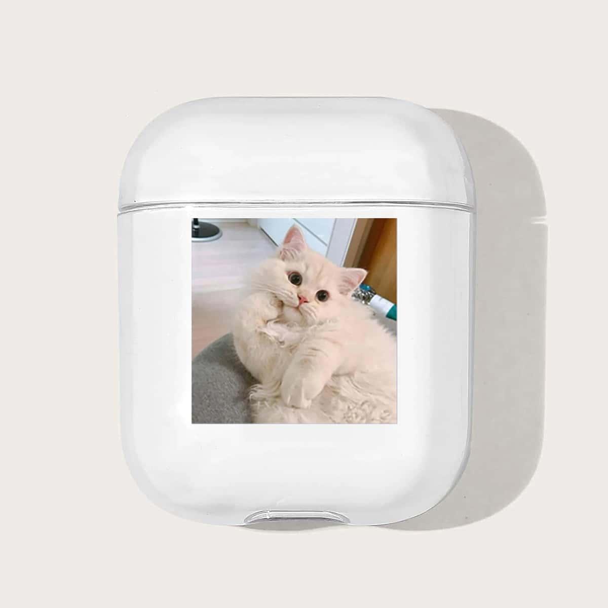 Custodia per AirPods trasparente con stampa gatto