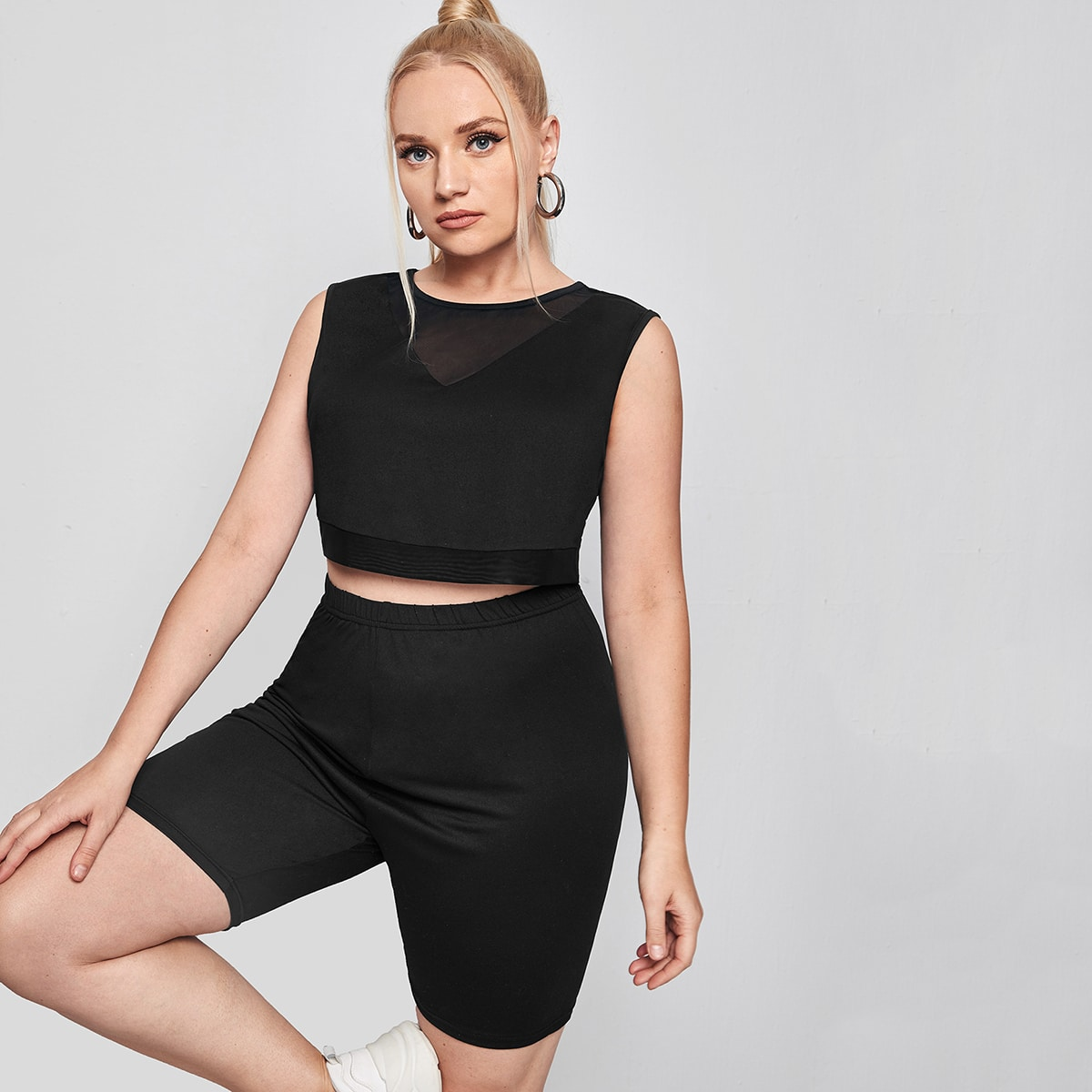Plus Contrast Mesh Crop Tank Top With Biker Shorts, SHEIN  - buy with discount