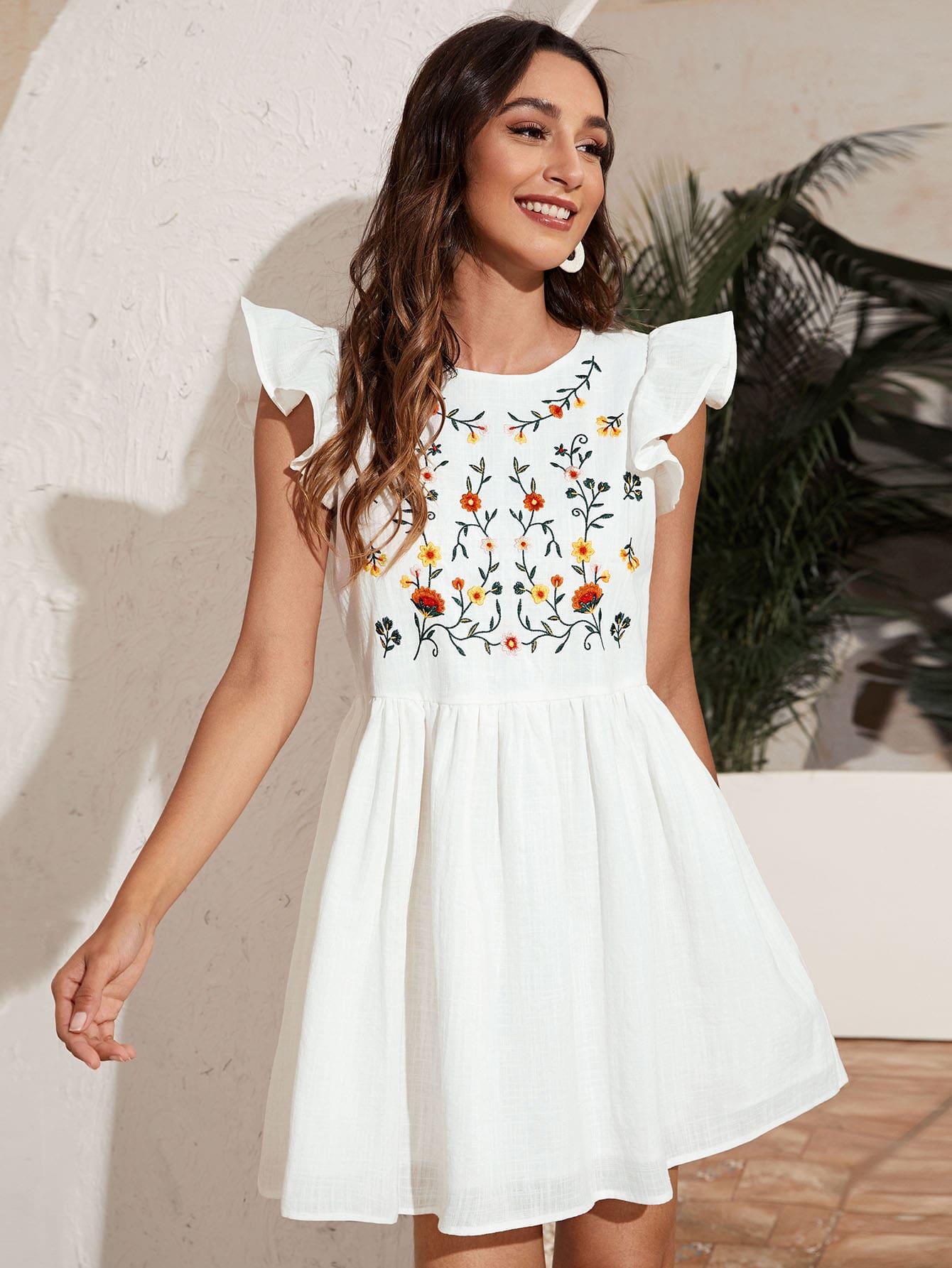Платье с цветочной вышивкойswdress07210119903