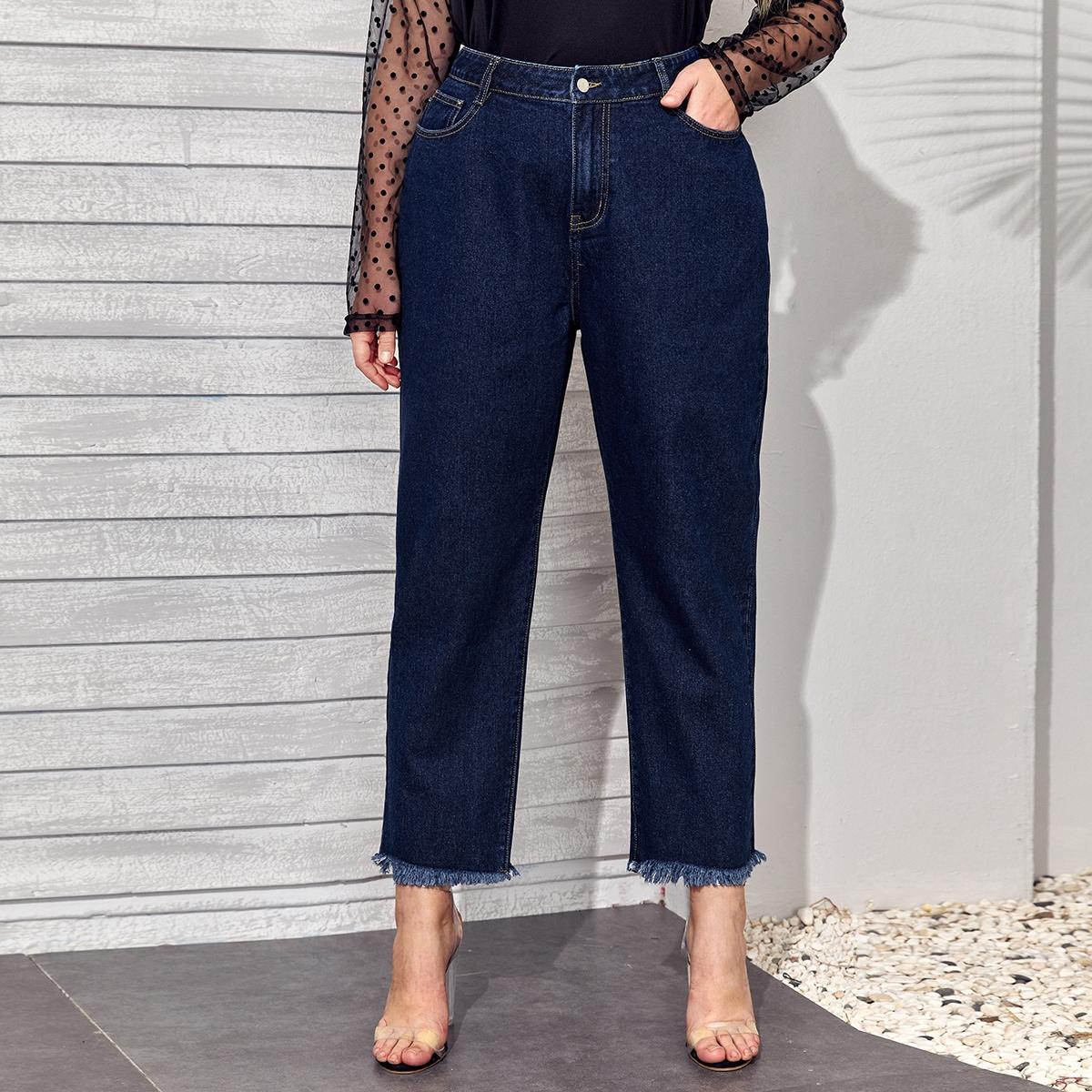Короткие джинсы размера плюс с высокой талией