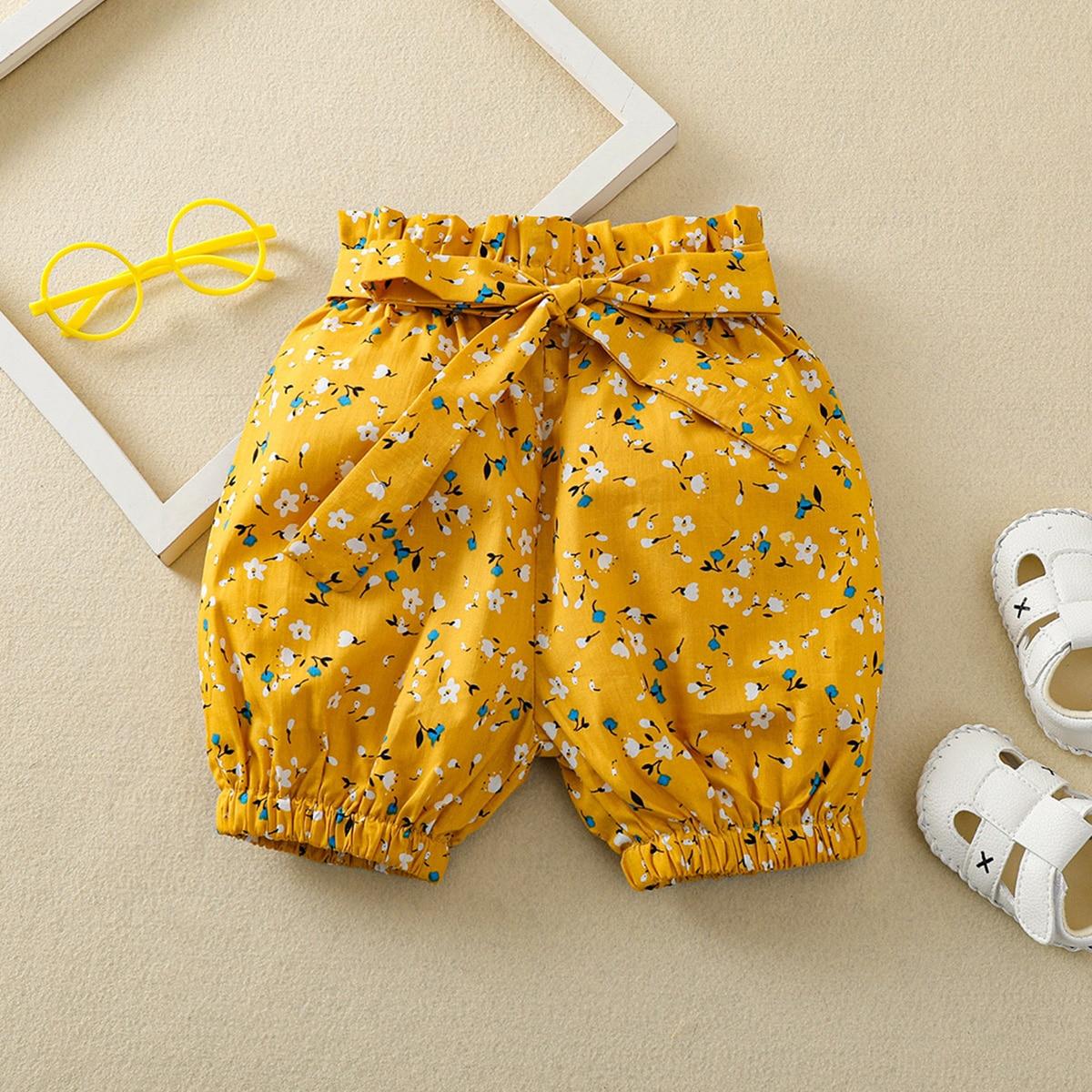 Шорты с поясом и цветочным принтом для девочек