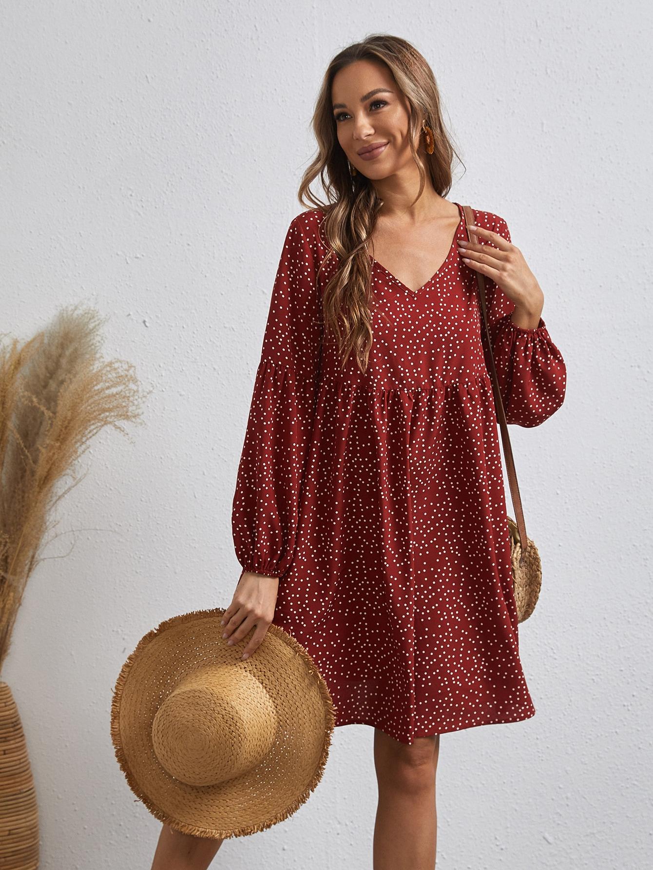 Платье в горошек с оригинальным рукавомswdress07210112903