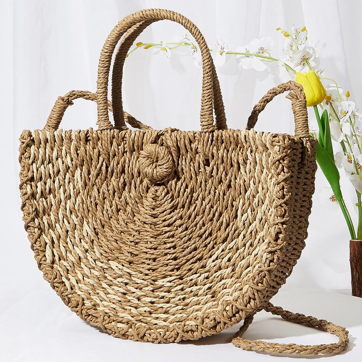 Соломенная сумка-тоут