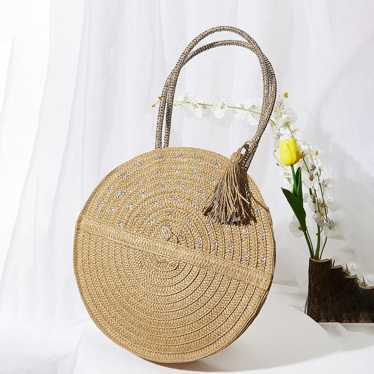 Tassel Decor Straw Circle Bag